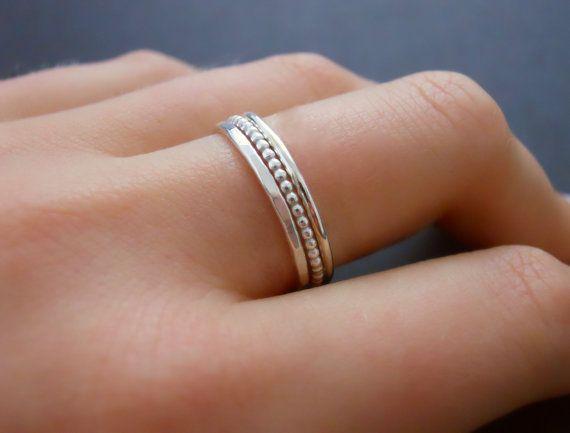 fffc81bbc78b8 Thin Beaded Sterling Silver Ring, Skinny Beaded Ring, Minimal Beaded ...