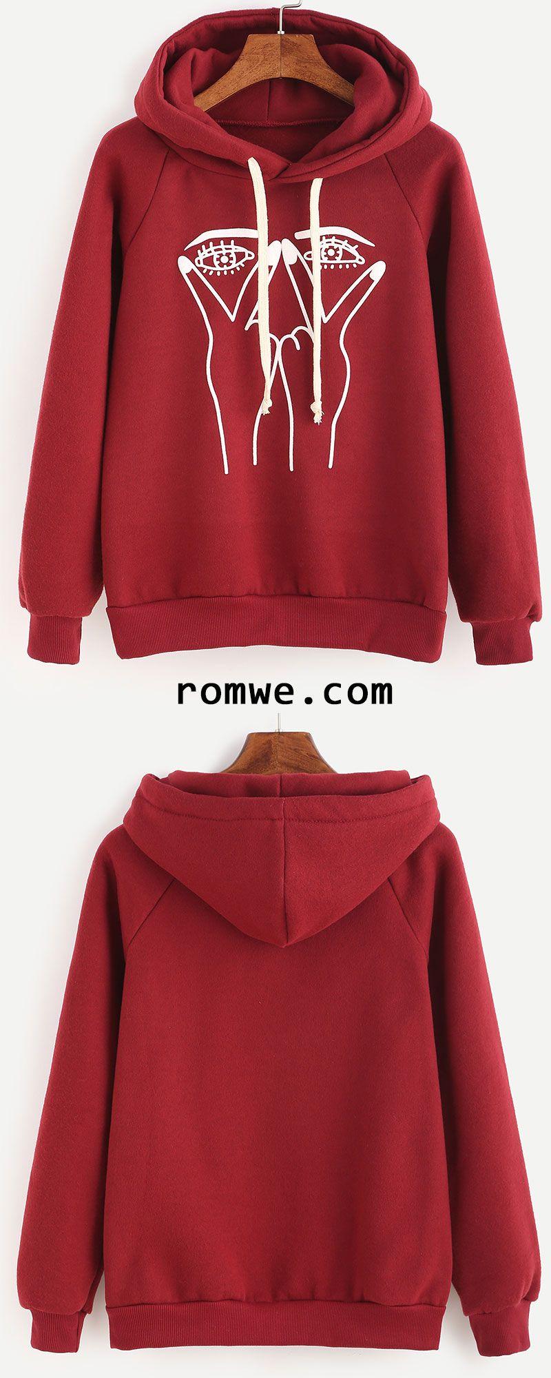 Burgundy Gesture Print Raglan Sleeve Hooded Sweatshirt