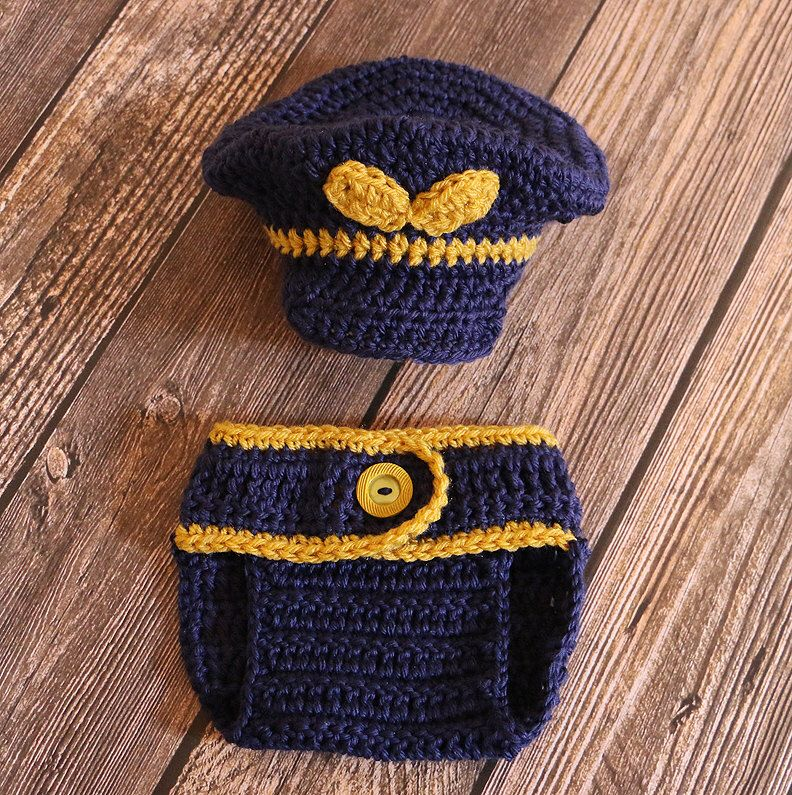 Crochet Captain Hat & Diaper Cover Set - Air Force Pilot Hat ...