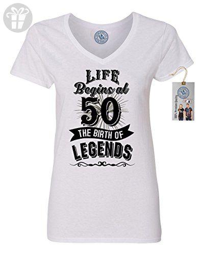 Life Begins At 50 Legends Birthday Gift Womens V Neck T-Shirt White X Large - Birthday shirts (*Amazon Partner-Link)