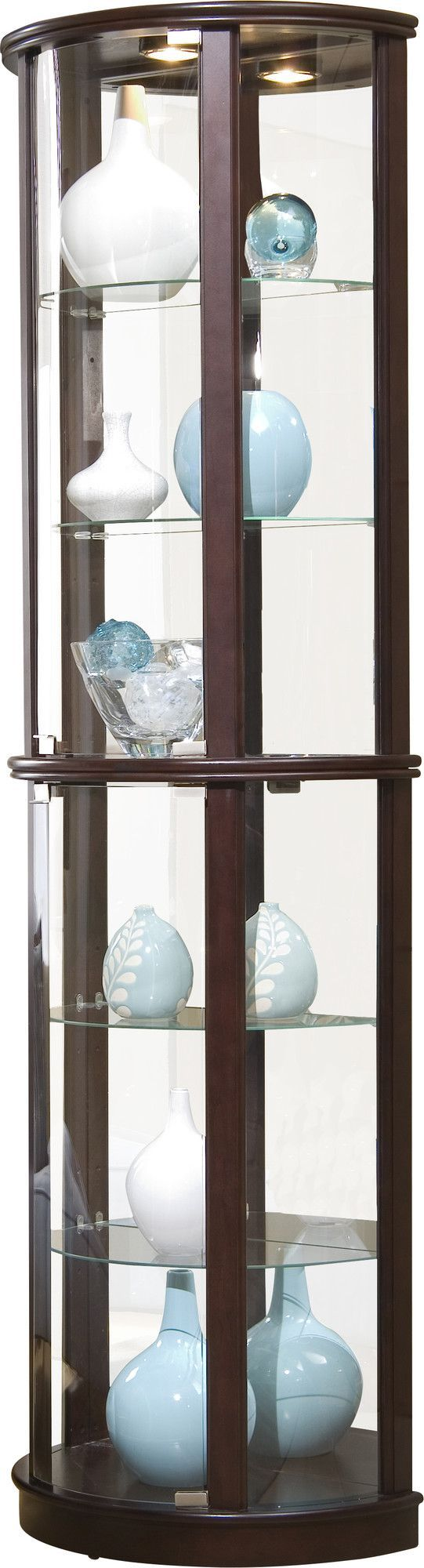 Features:  Small Half Round Shape.  Upper And Lower Center Glass Doors For  · Curio CabinetsChina ...