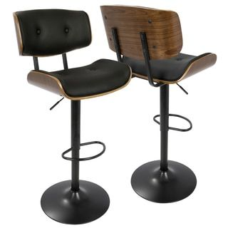 Bar stool  sc 1 st  Pinterest & LumiSource Lombardi Walnut-finish Wood and Chrome Mid-century ... islam-shia.org
