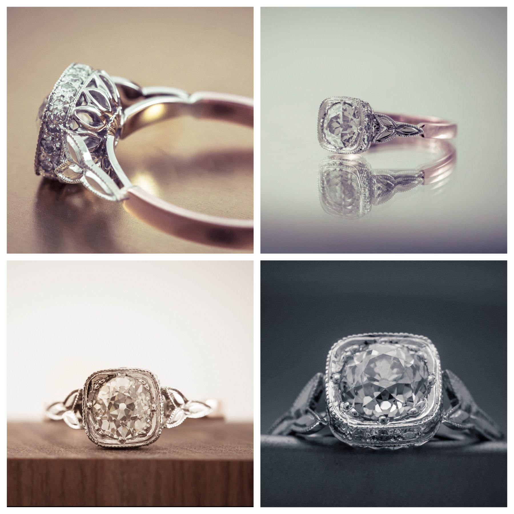 Handmade Diamond Engagement Ring Round Old Dutch cut diamond set