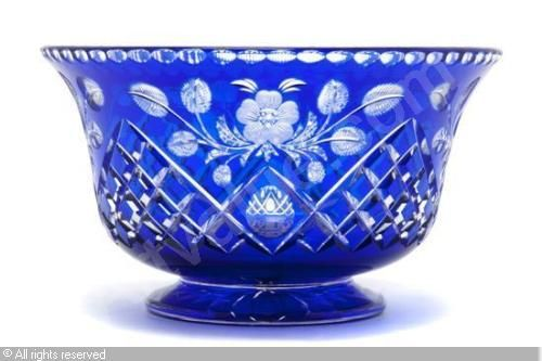 Ajka Clarendon Cobalt Blue Cut To Clear Crystal Wine Cordial Liqueurs New Signed Attractive Designs; Pottery & Glass Glass