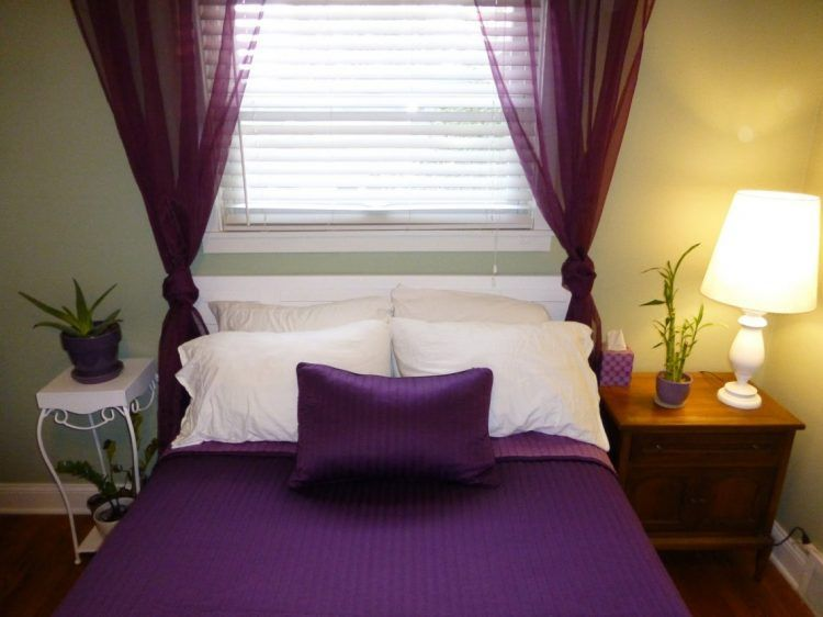 Attirant Adorable Purple Bedroom Design With Sheer Purple Curtains To Cover The  Small Widnow With Wooden Side Table And Side Lamp And White Small Table  With Greenery