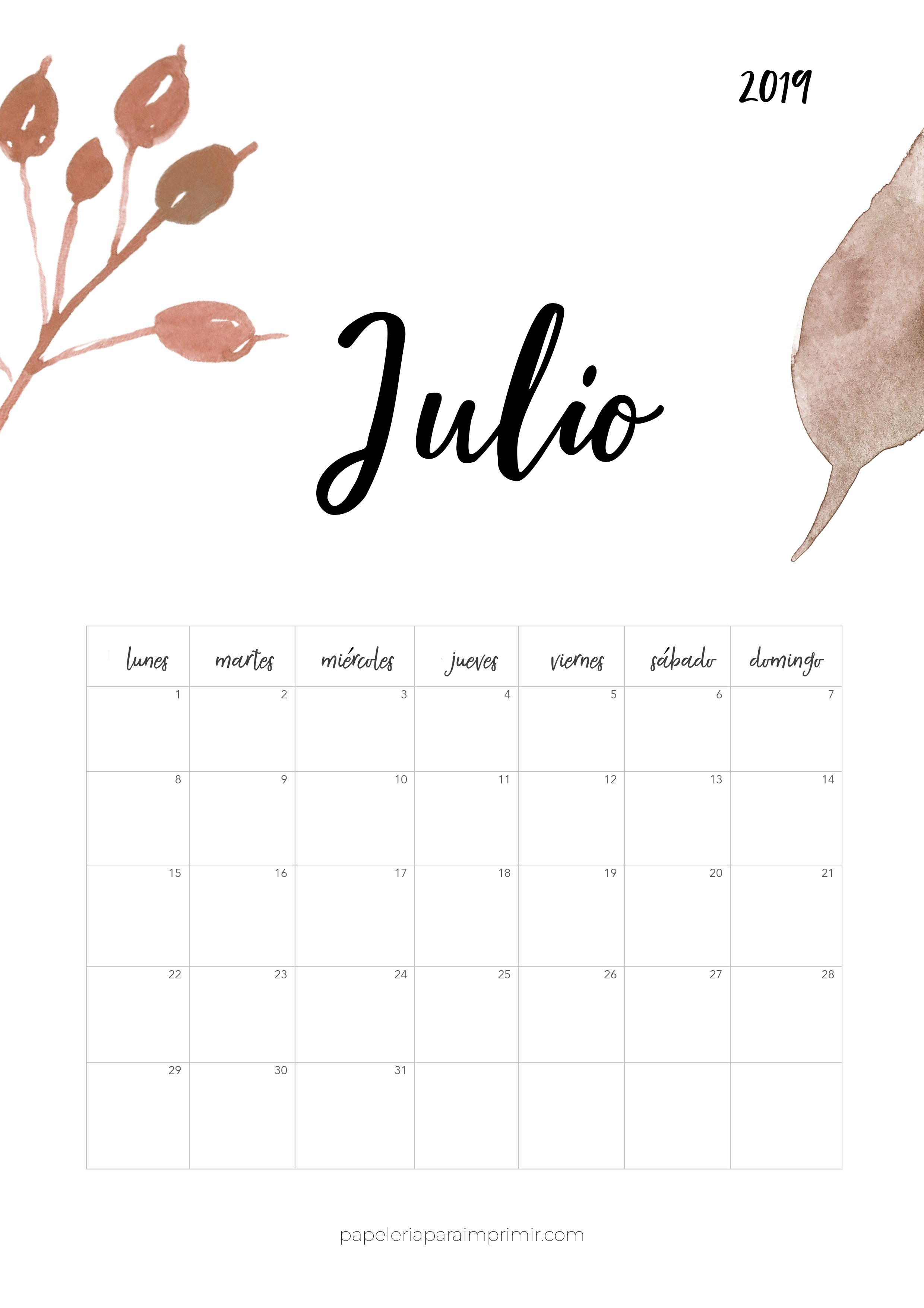 Calendario Julio 2019 Mr Wonderful.Calendario Para Imprimir 2019 Julio Calendario Calendar