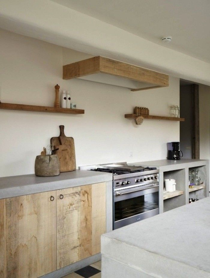 Concrete Betonkuche Kuche Holz Und Haus Kuchen