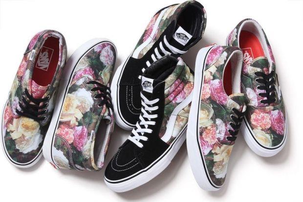 zapatillas flores mujer vans