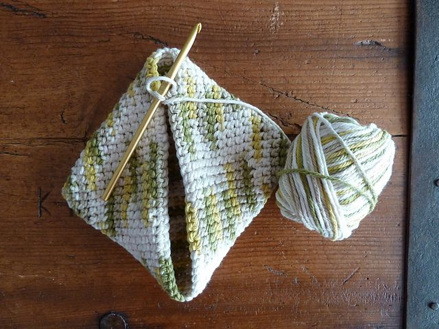 Double Thick Diagonally Crocheted Potholder Great Pattern With