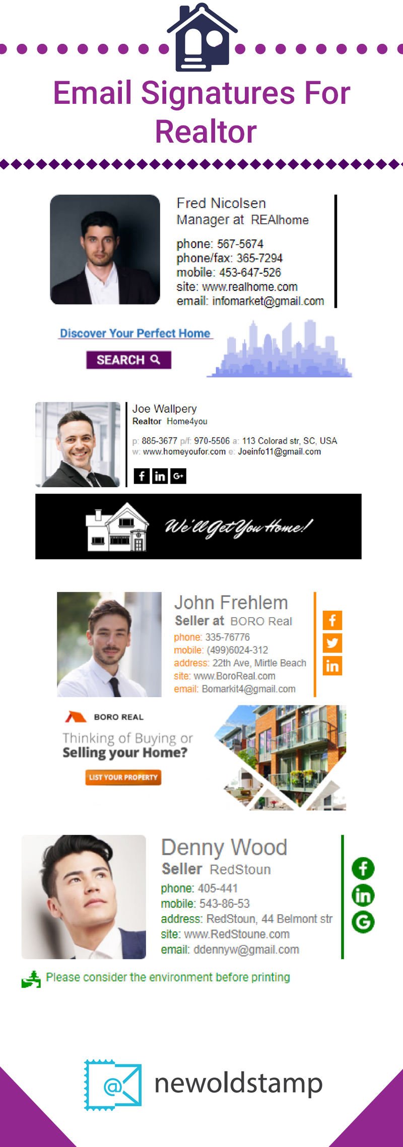 NEWOLDSTAMP email signature examples for realtors (With