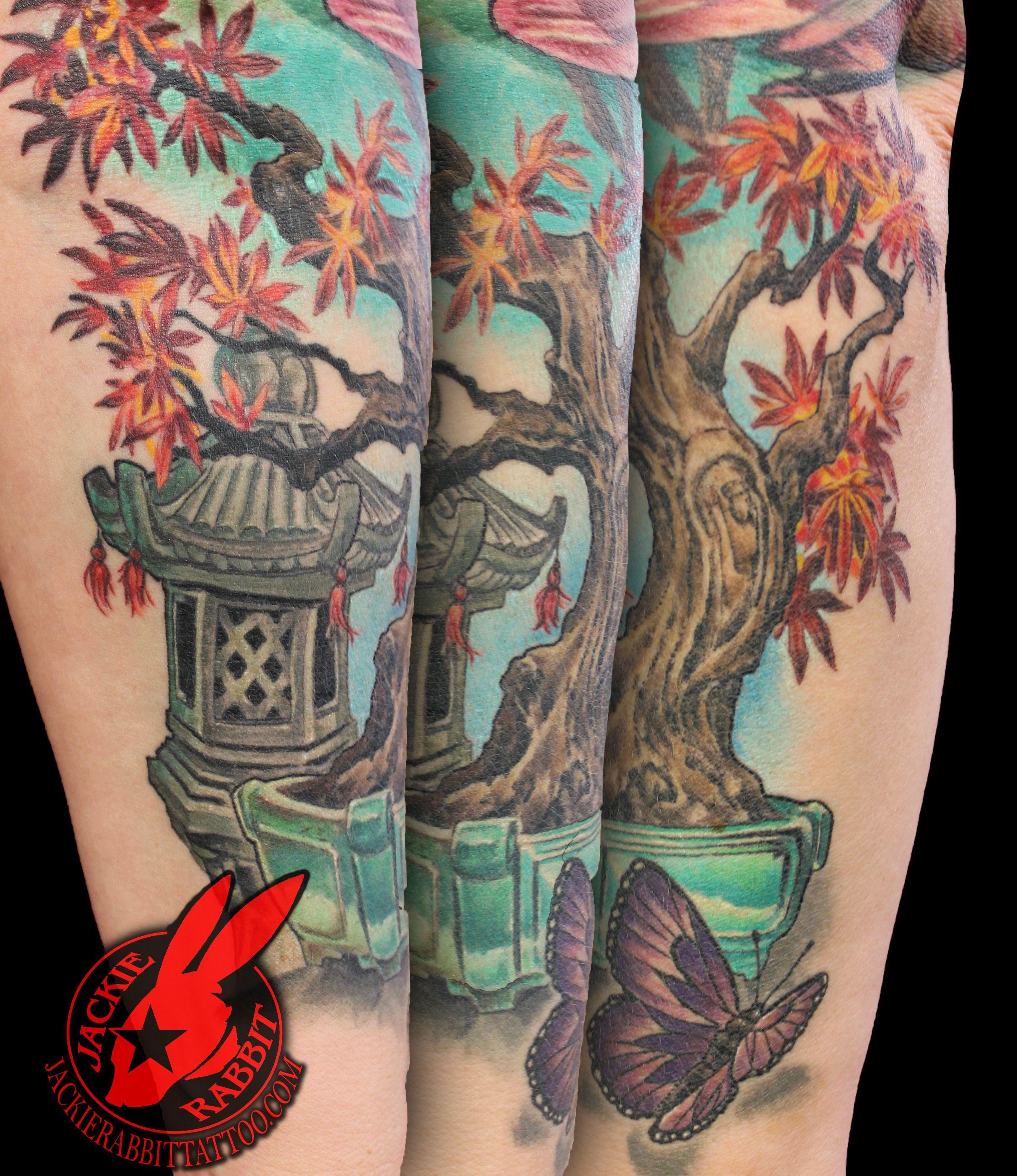 Bonsai Tattoo Meaning: Bonsai Tree Japanese Maple Pot Pagoda Leaves Butterfly