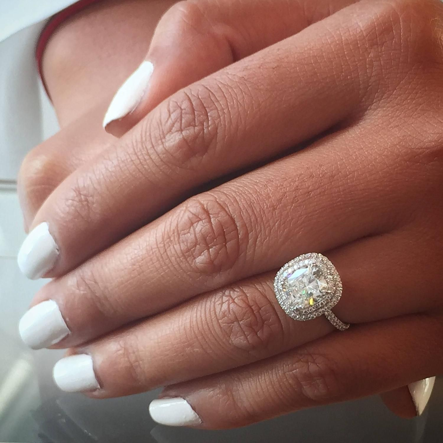 Forevermark diamond ring 203 carat cushion diamond with for Wedding band to go with halo ring