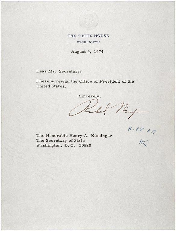 President Richard Nixon\u0027s resignation letter in the wake of the