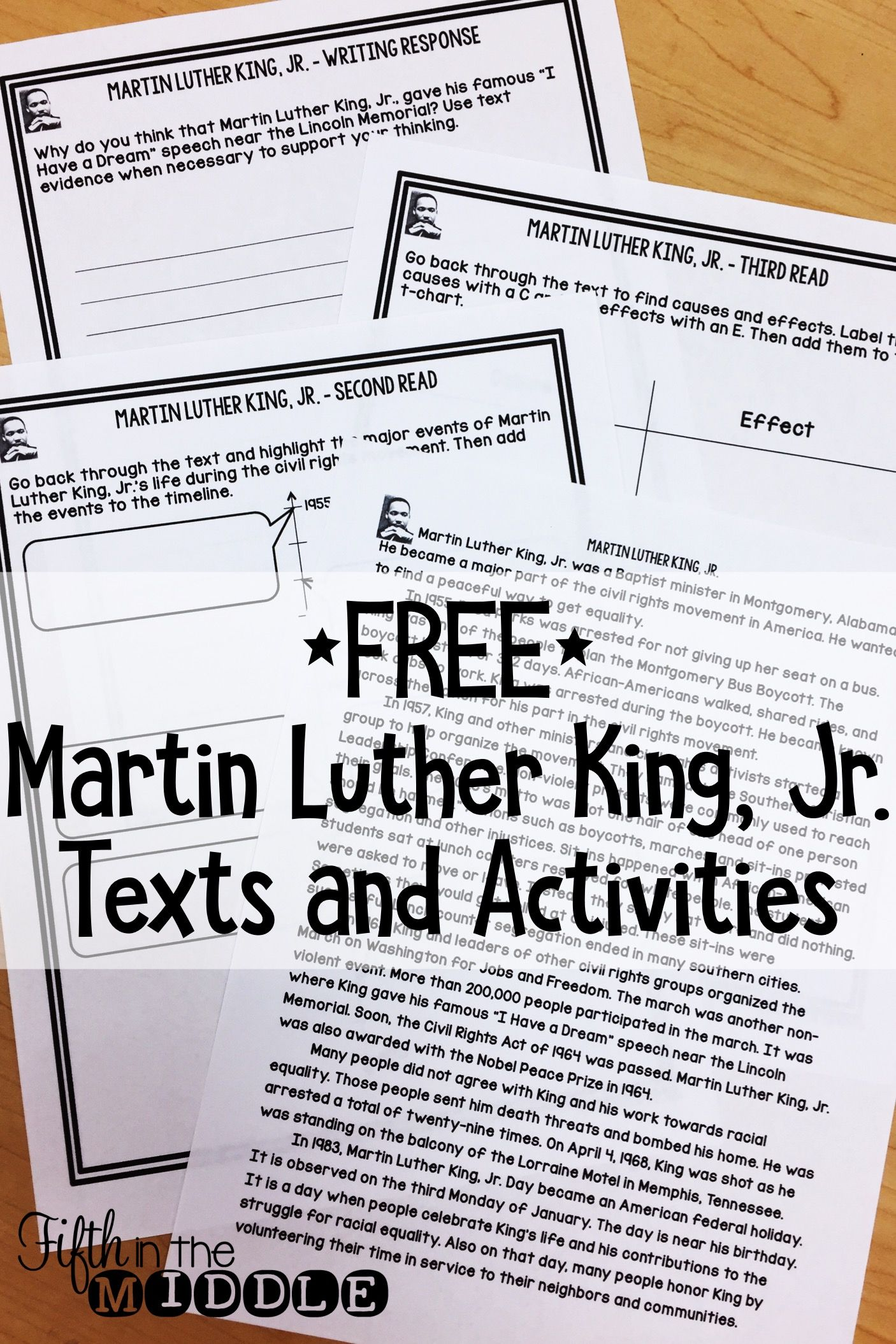 Free Martin Luther King Jr Close Reading Comprehension
