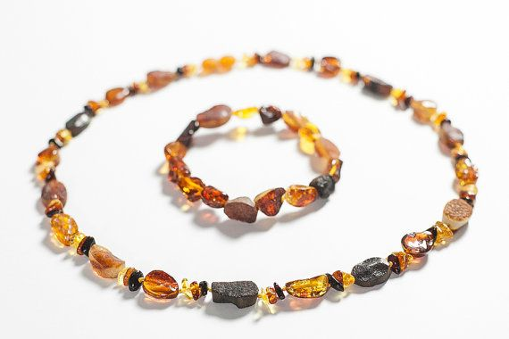 Set of amber necklace and bracelet. Natural by LuxuryBalticAmber, $32.99