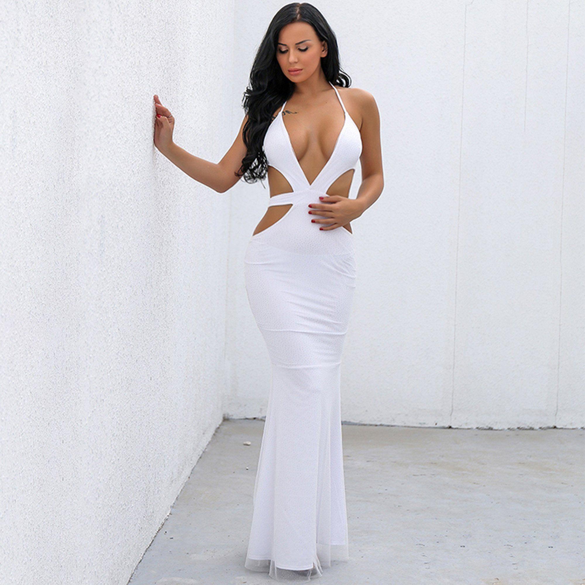 White Mermaid Long Maxi Dresses
