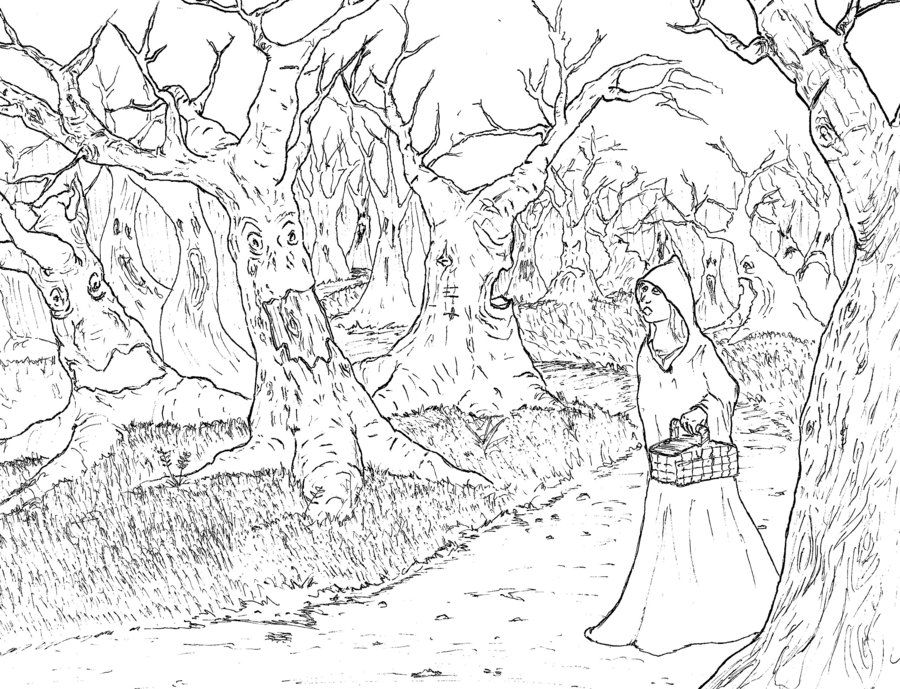 Line Art Forest : Forest of unrestrained fears haunted woods line drawing