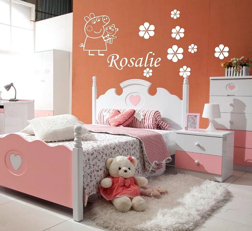 GIRLS NAME Bedroom Wall Art Decal/Sticker 3 SIZES PEPPA