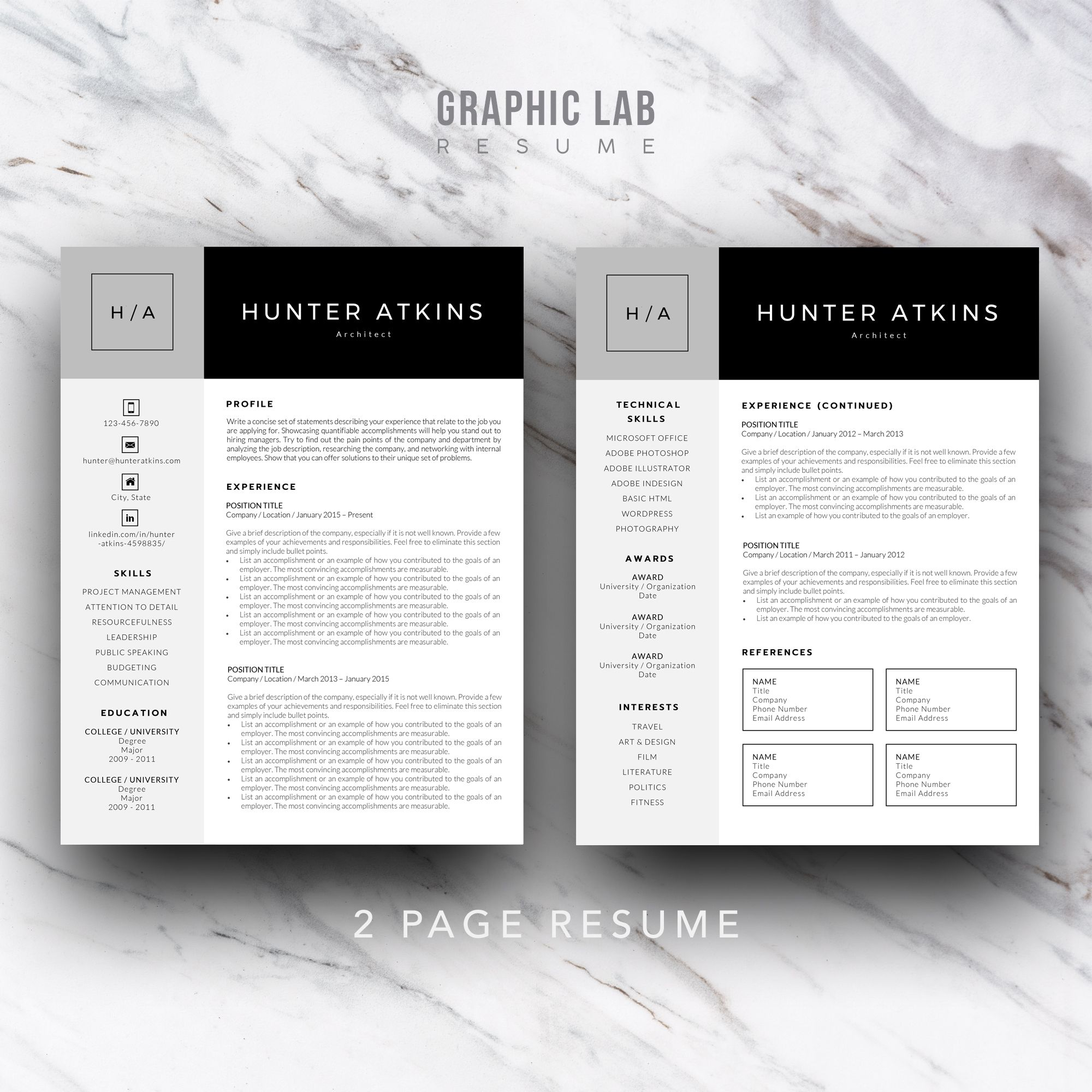 Resume Template One Page Curriculum Vitae One Page Resume