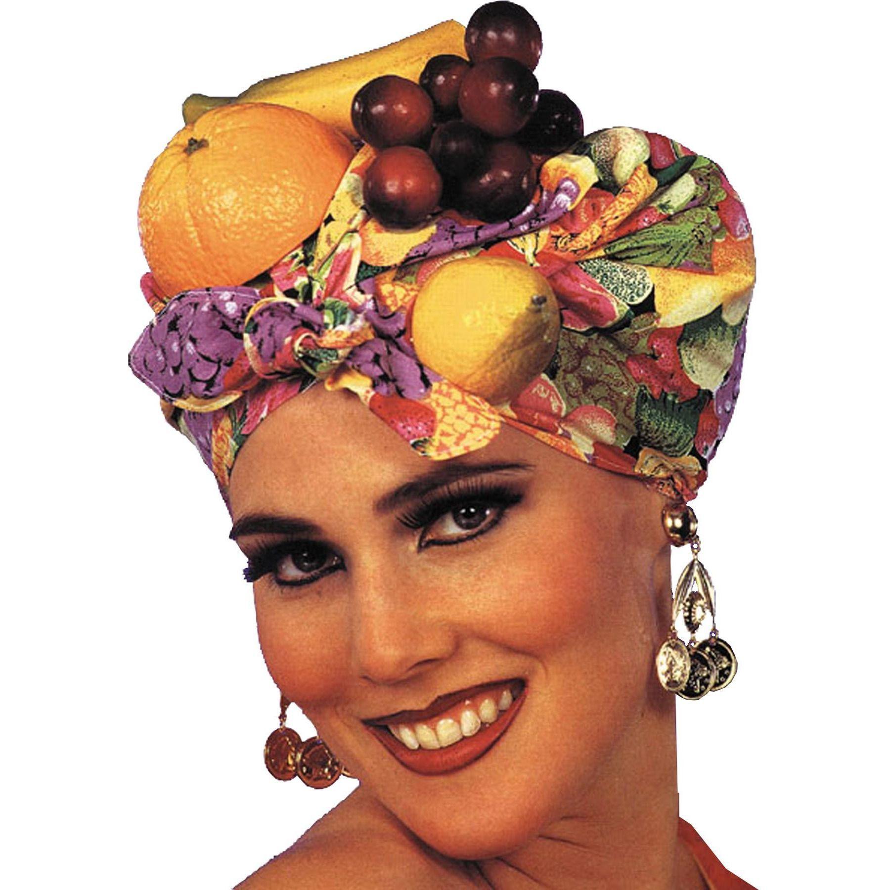 Fruit Hat Carmen Miranda Chiquita Banana Samba Feather Showgirl Adult Womens