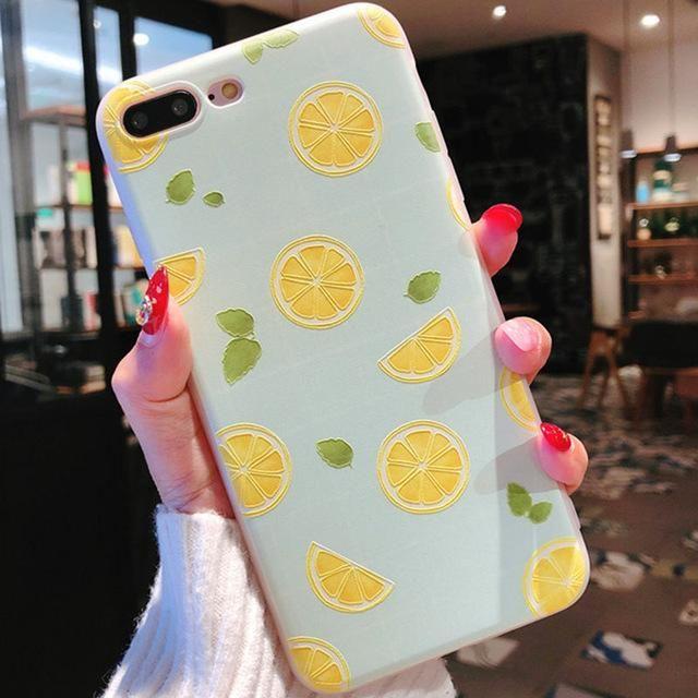 Luxury Painting Lemon Fruit Flower Lovely Soft TPU Phone ...