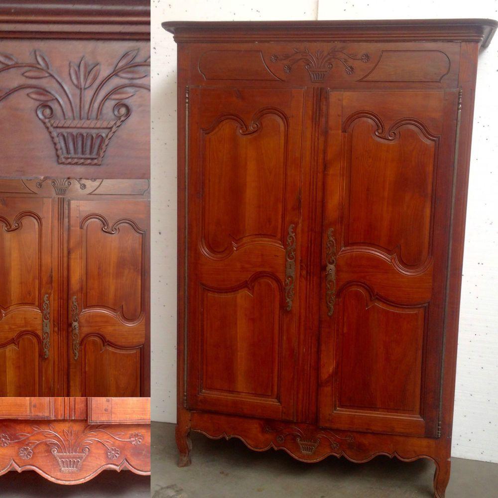 Armoire Deux Portes Merisier Massif Finement Sculptee Avec Serrure Xix Siecle Armoire Decor Home Decor