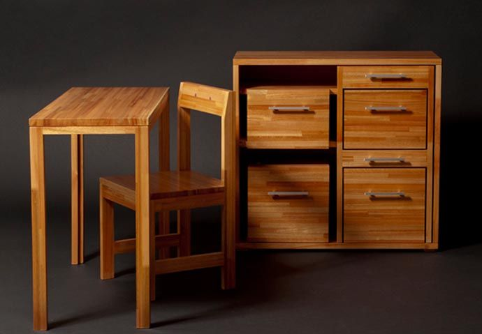 The Ludovico Compact Furniture Set:  Desk/Chairs/Storage by Claudio Sibille