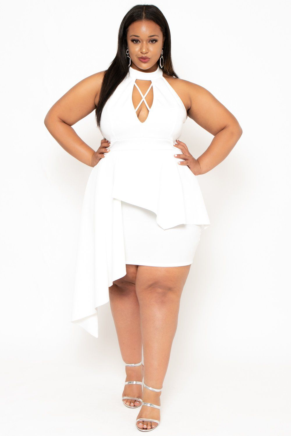 Plus Size Keyhole Peplum Dress - White in 2019 | White plus ...