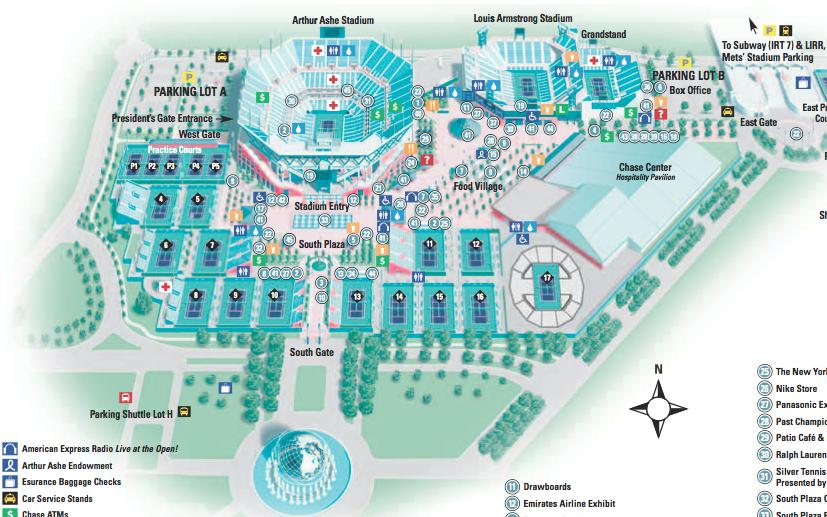 Map Of Us Open - Us open tennis parking map