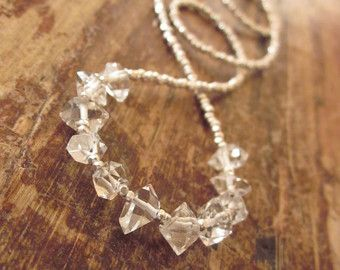 Herkimer Diamond Necklace Karen Hill Tribe Silver Beads Beaded Stone Woman's Necklace Beadwork Rock Crystal Quartz Stone Sterling Silver
