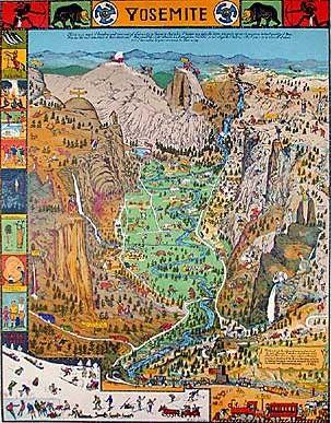 Yosemite National Park Humorous 1931 pictorial map POSTER Jo Mora 45443