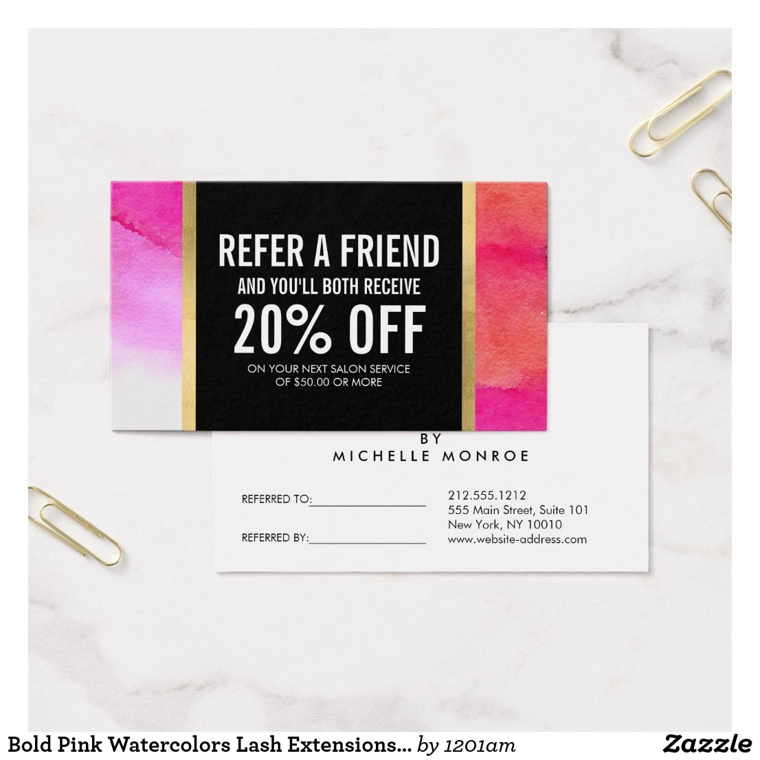 Bold pink watercolors lash extensions referral zazzle