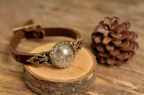 20% OFF Dandelion bracelet dandelion seed bracelet brown