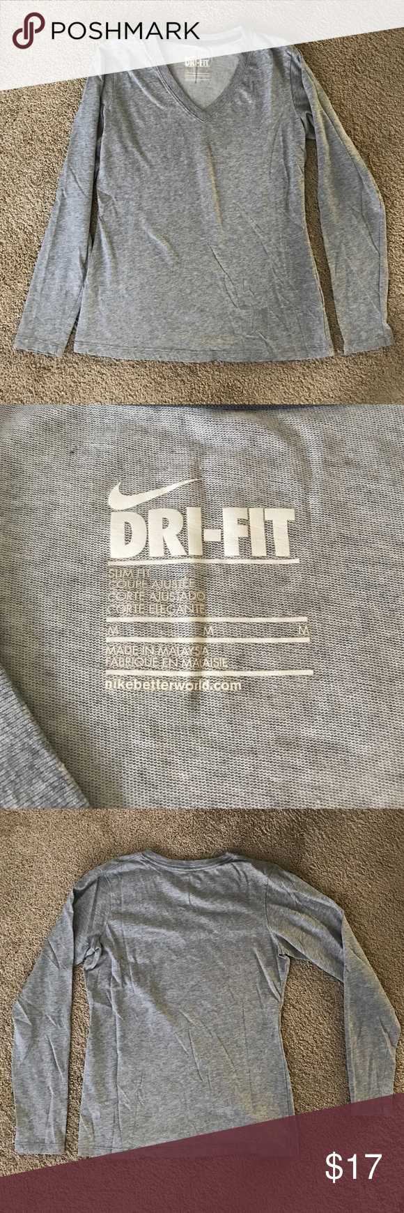 Nike dri fit slim fit long sleeve shirt Long sleeve dri fit, slim fit shirt by Nike. Size M, I usually wear small for reference. No damages, non smoking hom. No trades! Nike Tops