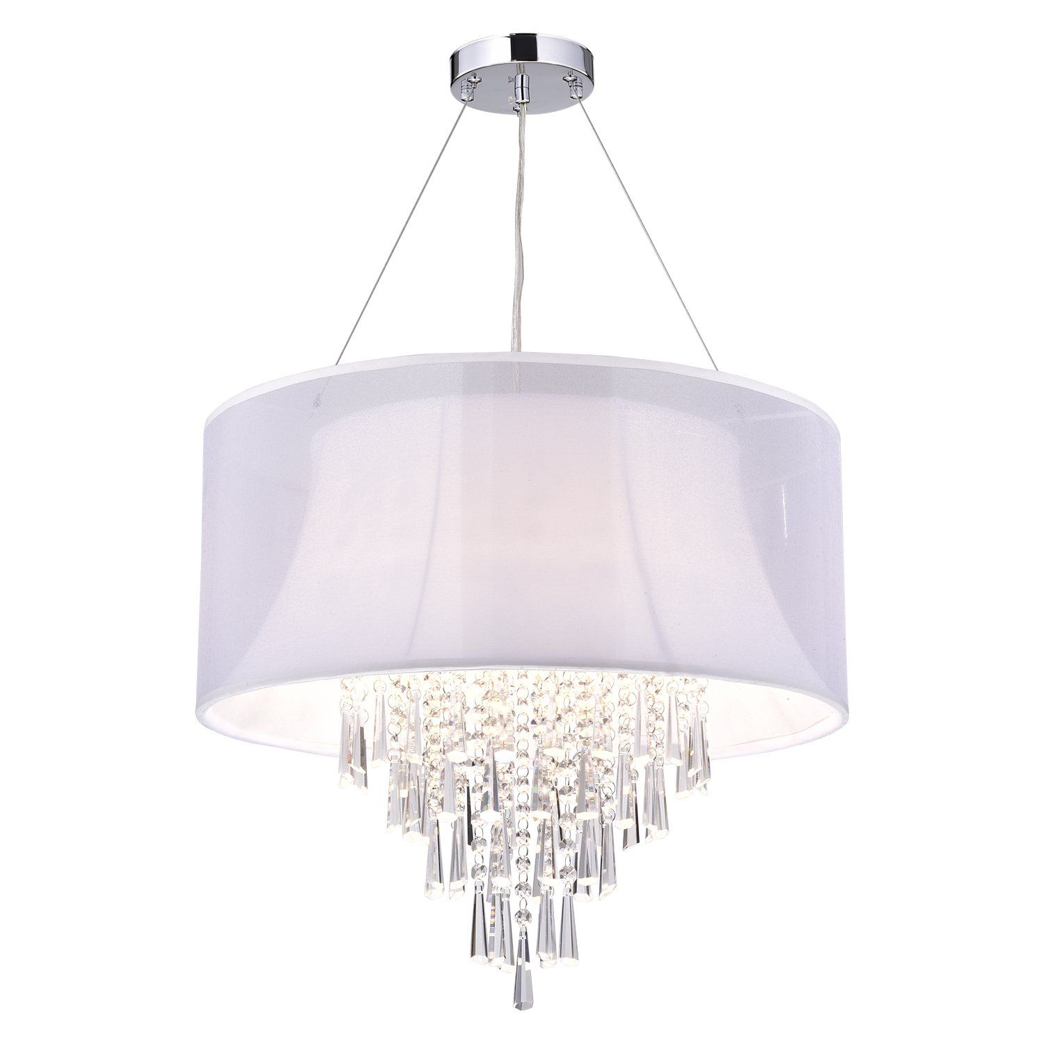 4 Light Double White Drum Shade Crystal Pendant Chandelier Check Out The Image By Visiting Link It Is Affiliate Chandeliercollection