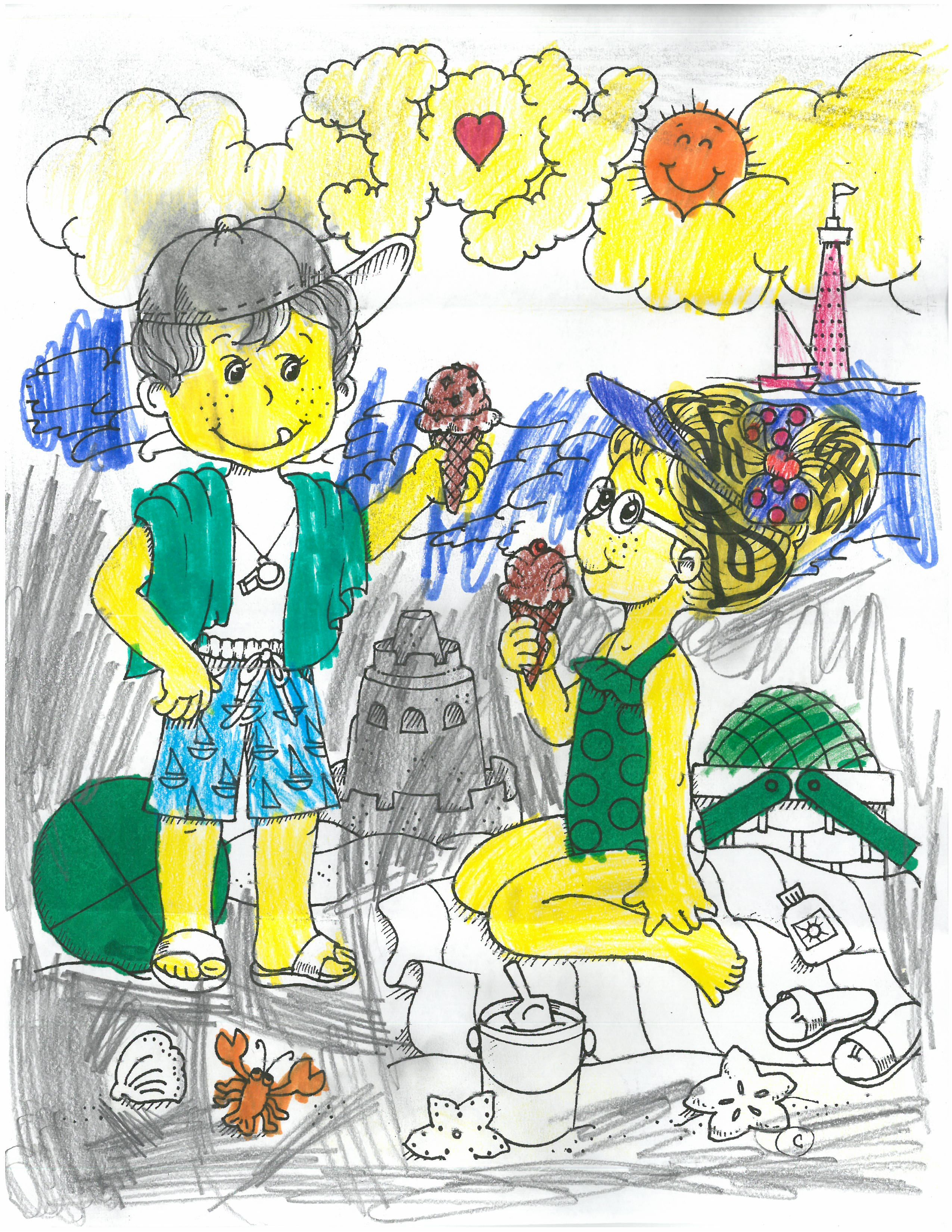 Joy August coloring competition submission from Riley, age 8