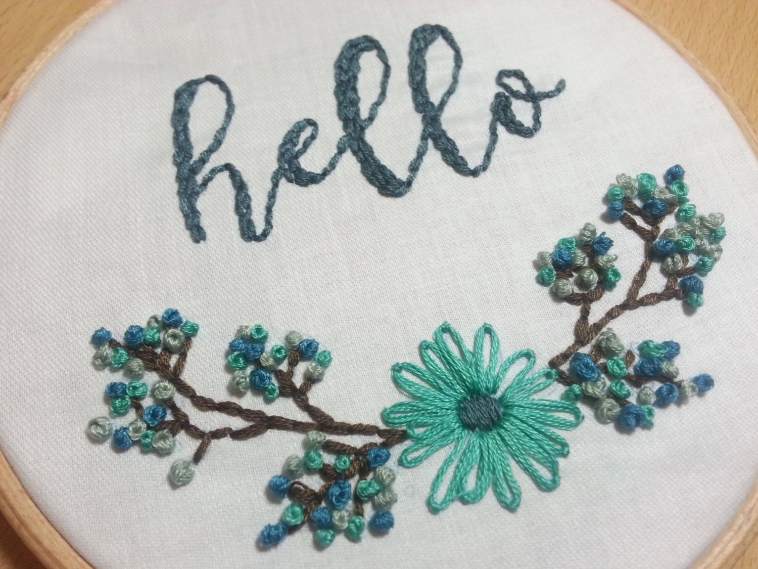 Floral embroidery pattern instant pdf hello embroidery design