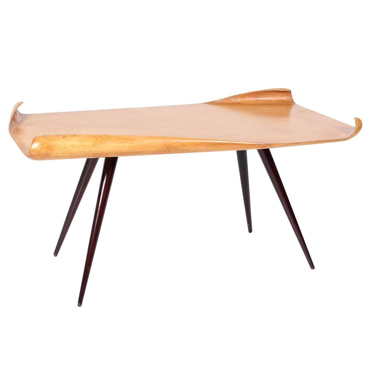 Post Modern Coffee Tables: Aldo Tura / Italian Post-War Coffee Table With Furled
