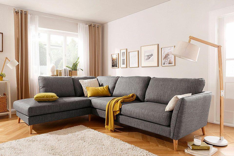 Home Affaire Ecksofa »Marseille«, Skandinavischer Stil, 3 Bezugsqualitäten,  Mit Holz