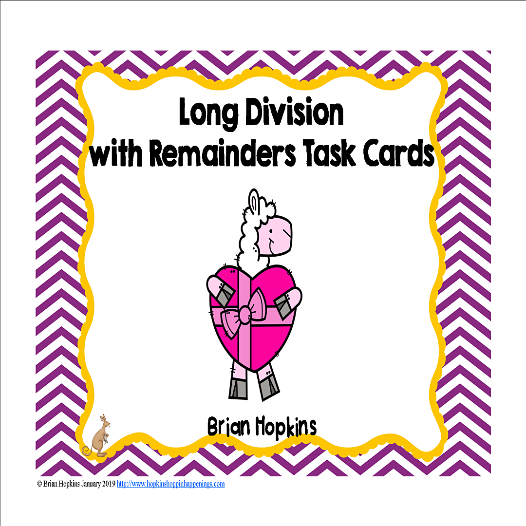 Valentine S Day Llamas Long Division Task Cards