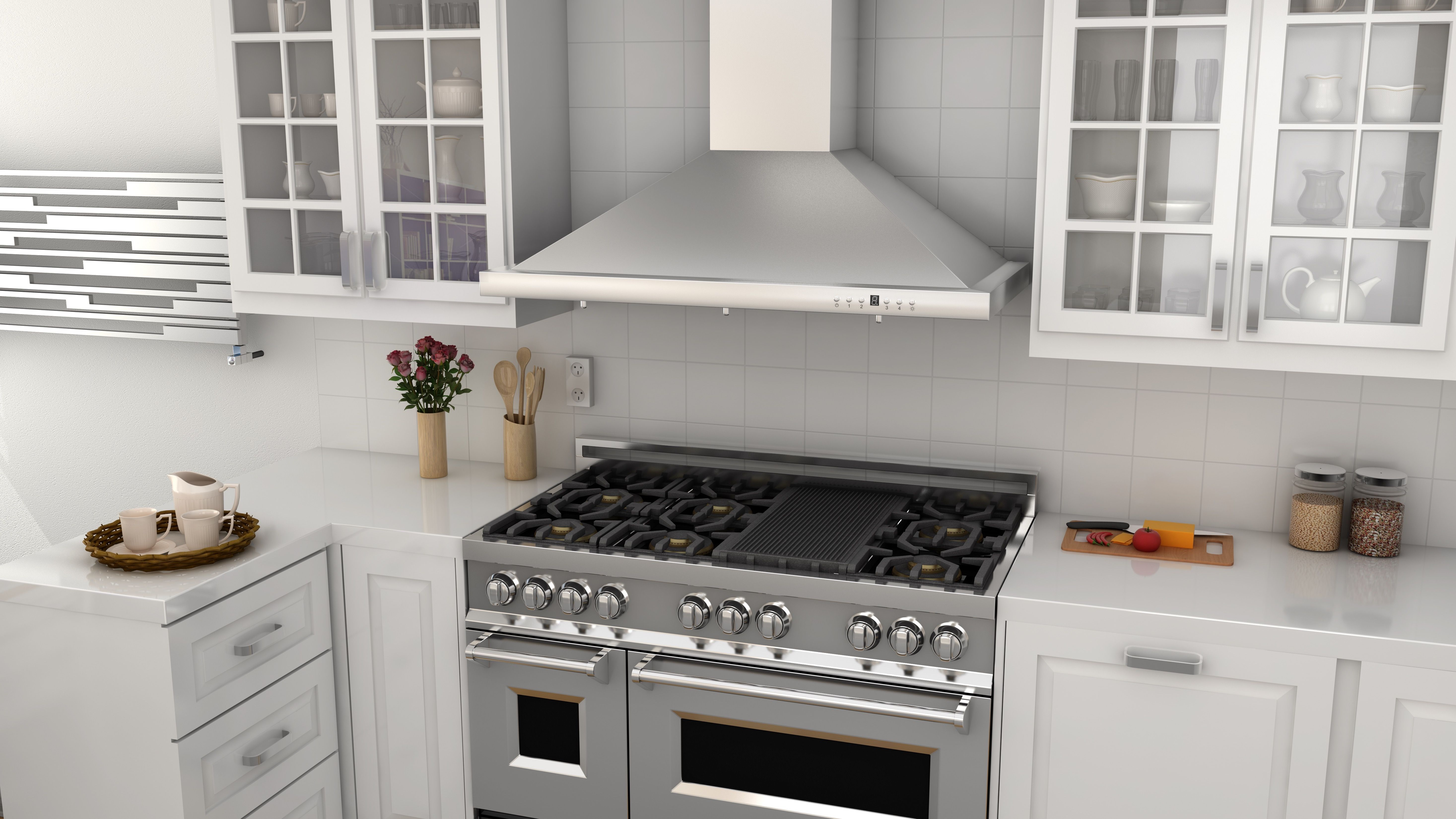 A Beautiful Zline Kitchen Stainless Steel Range Hood And White Kitchen Cabinets For Your Monday Kitcheninspira Range Hood Kitchen Installation Kitchen Remodel