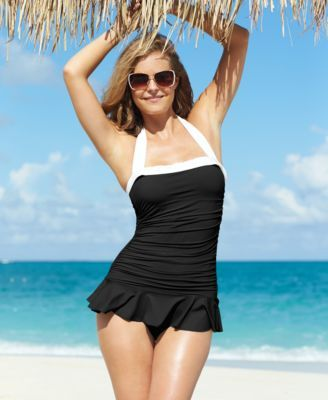 c65034b295 A skirted detail adds retro flair to this Lauren by Ralph Lauren swimsuit.  Elegant ruching and a tummy-control panel create a sleek silhouette to  enjoy ...