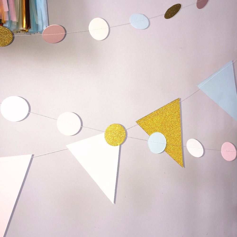 Pink, light blue, beige , gold  Paper Garland, Geometric Paper Bunting, Event & Party Supplies, Bridal Shower, Birthday Garland