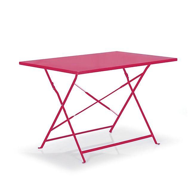 Pims Table de jardin pliante rose en acier (2 à 4 places ...