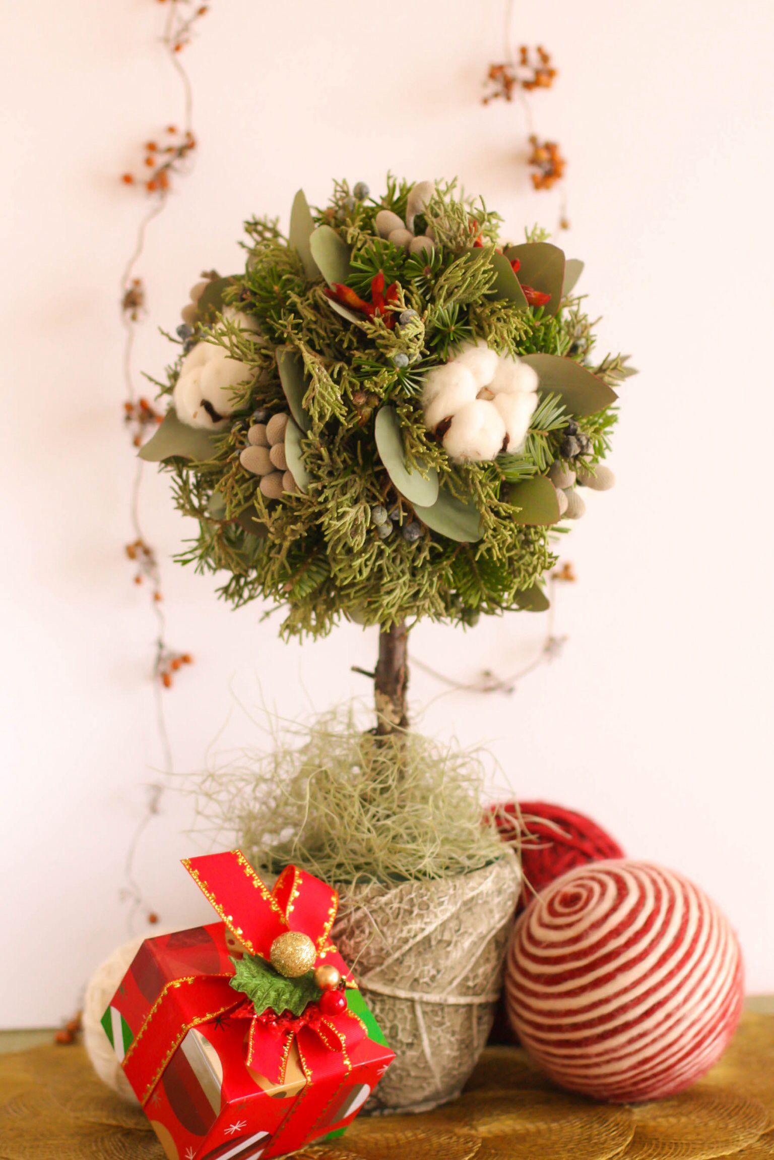 Cotton topiary for christmas christmas topiary