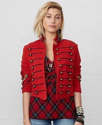9213d760ce48b1 Denim   Supply Ralph Lauren Cropped Military Jacket - Jackets   Blazers -  Women - Macy s. over the stripped black and white shirt