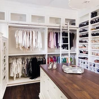 Long Closet Island with Butcher Block Top Closet island