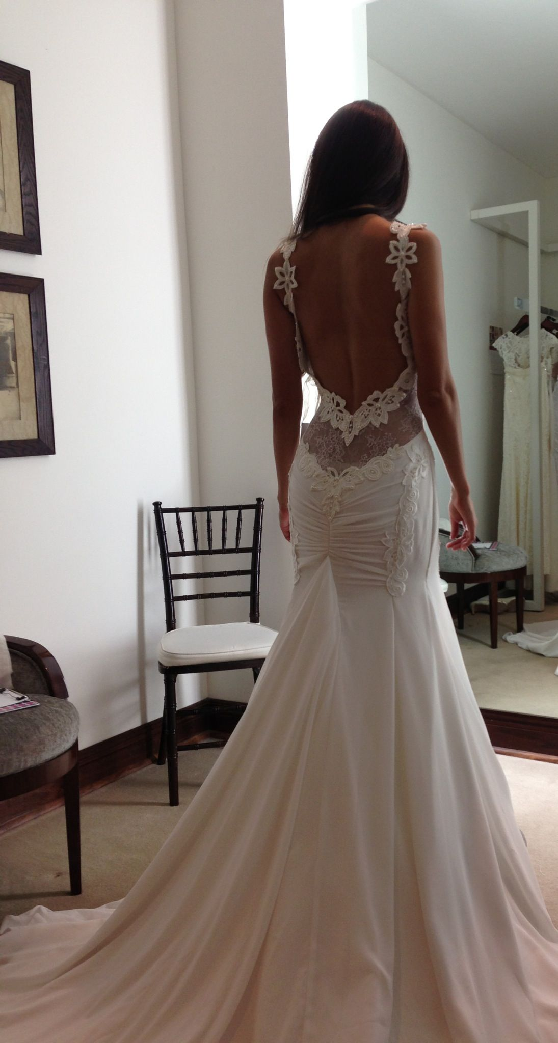 Beautiful bride trying on berta at chic parisien soon to be a
