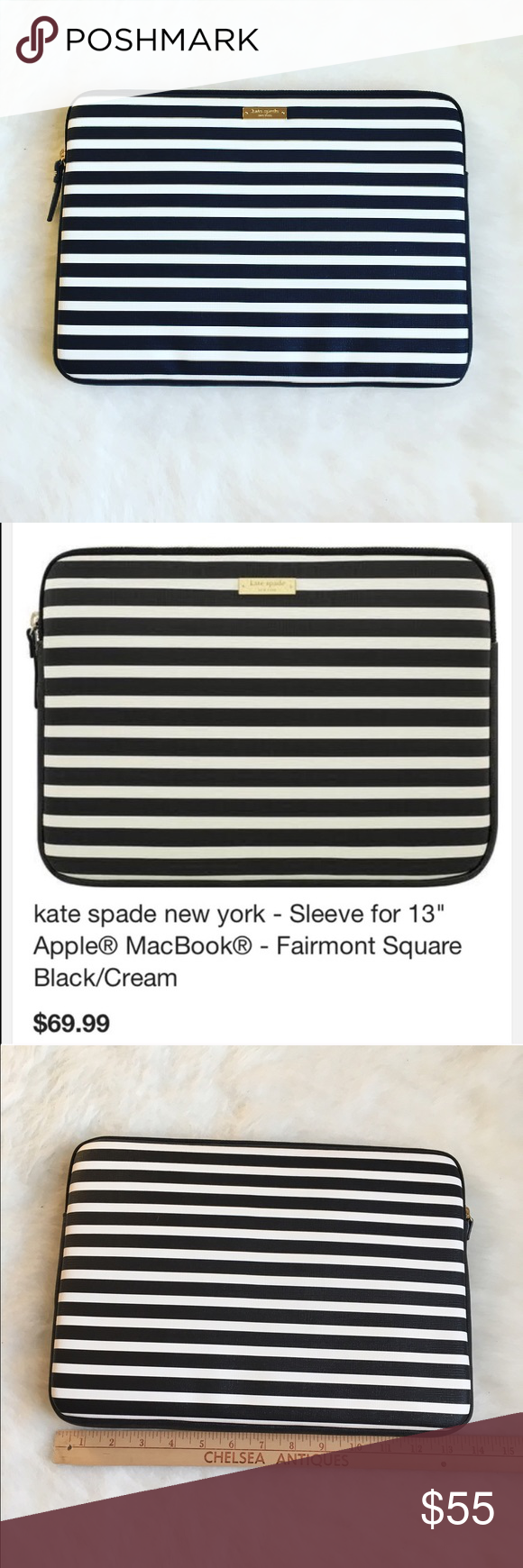 """Kate Spade laptop sleeve Shield your 13"""" Apple MacBook/MacBook Pro against scratches and scuffs with this kate spade new york KSMB-012-FSQBC sleeve, which features stylish kate spade new york designs on durable vinyl material. The gold zipper closure adds a touch of style.🖤BRAND NEW NEVER USED🖤🚫NO TRADES LOW BALL OFFERS GET BLOCK🚫 kate spade Accessories Laptop Cases"""