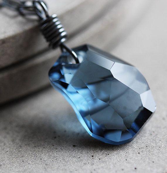 Crystal Necklace Montana Blue Swarovski Crystal by GlitzGlitter, $50.00